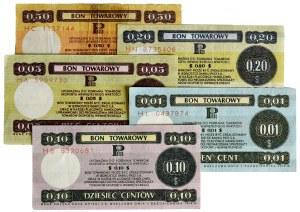 Pewex, zestaw bonów 1-50 centów 1969 (5 szt.)