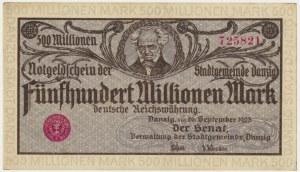 Danzig, 500 milion 1923 - gray-purple print -