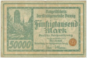 Danzig, 50.000 mark 1923 - no. 5 digits with ❊ -