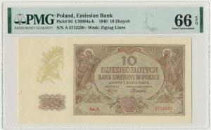 10 złotych 1940 - A - PMG 66 EPQ - rzadka pierwsza seria