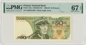50 złotych 1988 - GB - PMG 67 EPQ - pierwsza seria rocznika