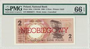 2 złote 1990 - B - NIEOBIEGOWY - PMG 66 EPQ
