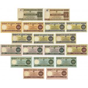 Pewex, zestaw bonów 10 centów -2 dolary 1979 (18 szt.)