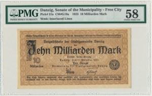 Danzig, 10 bilion 1923 - PMG 58 - watermark