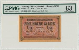 Kowno, 1/2 mark 1918 - B - PMG 63
