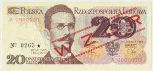 20 złotych 1982 - WZÓR A 0000000 No.0263 -