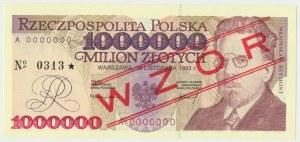 1 milion złotych 1993 - WZÓR A 0000000 No.0313 - RZADKI