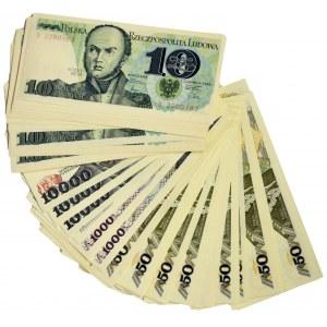 Zestaw banknotów PRL 10 - 10.000 złotych (ok. 110 szt.)