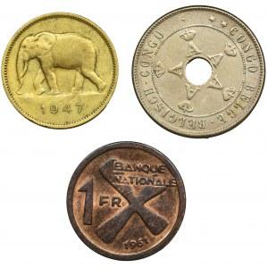 Zestaw, Mix monet z belgijskiego kongo (3 szt.)