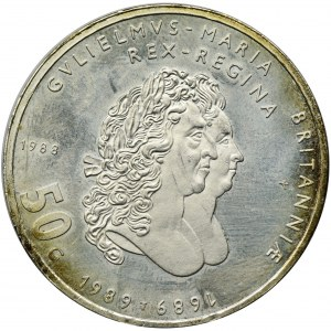 Niderlandy, Królestwo Niderlandów, Beatrix, 50 Guldenów 1988 - Wilhelm III i Królowa Maria