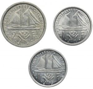Zestaw, Francja, Saint-Pierre i Miquelon, Franki 1948 (3 szt.)