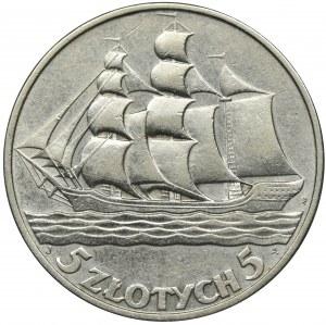 Żaglowiec, 5 złotych 1936