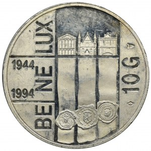 Niderlandy, Królestwo Niderlandów, Beatrix, 10 Guldenów 1994 - 50-lecie Beneluksu