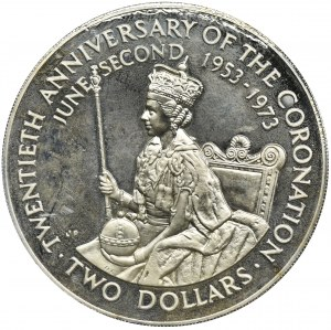Nowa Zelandia, Wyspy Cooka, Elżbieta II, 2 Dolary Llantrisant 1973
