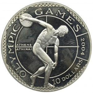 Nowa Zelandia, Wyspy Cooka, Elżbieta II, 10 Dolarów 2001 - Olimpiada Ateny 2004