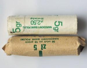 Zestaw, Rulony bankowe, 10 groszy 1981 i 5 groszy 2004 (2 szt.)