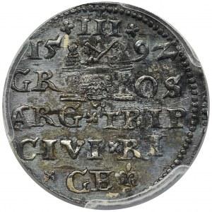 Sigismund III Vasa, 3 Groschen Riga 1592 - LI - PCGS UNC Detail