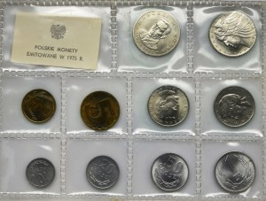 Zestaw, PRL, Polskie Monety Emitowane w 1975 roku (10 szt.)