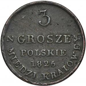Królestwo Polskie, 3 grosze polskie z MIEDZI KRAIOWEY Warszawa 1826 IB