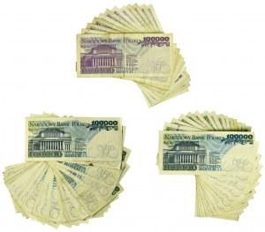 Zestaw banknotów PRL 100.000 złotych 1990-93 (51 szt.)