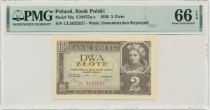 2 złote 1936 - CŁ - PMG 66 EPQ - polska litera