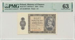 1 złoty 1938 - IL - PMG 63