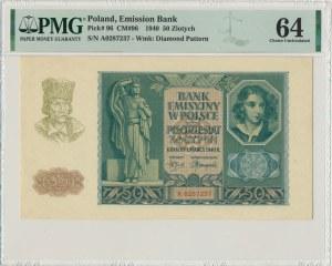 50 złotych 1940 - A - PMG 64 - ładny