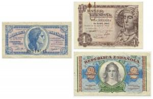 Spain, set of 50 centimos, 1-2 pesetas 1937-48 (3 pcs.)