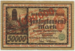 Danzig, 1 milion mark 1923 - red overprint -