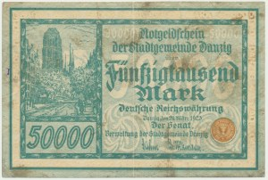 Danzig, 50.000 mark 1923 - no. 5 digit series with ❊ -