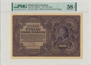 1.000 marek 1919 - I Serja AA - PMG 58 EPQ - rzadka seria