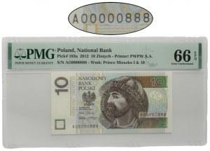 10 złotych 2012 - AO 0000888 - niski i ładny numer - PMG 66 EPQ