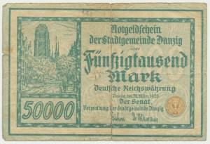 Danzig 50.000 mark 1923 no. 5 digits with ❊ -