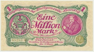Danzig, 1 milion mark 08 August 1923 - no. 5 digit series with ❊ not rotated