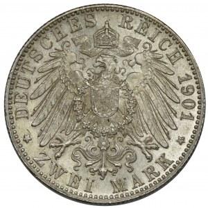 Niemcy, Wirtembergia, Wilhelm II, 2 Marki Stuttgart 1901 F