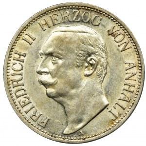 Niemcy, Anhalt-Dessau, Fryderyk II, 3 Marki Berlin 1909 A - RZADKIE