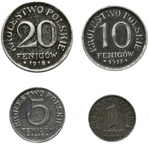 Zestaw, Królestwo Polskie, Fenigi (4 szt.)