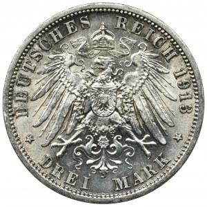 Niemcy, Królestwo Prusy, Wilhelm II, 3 marki Berlin 1913 A