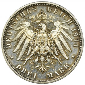 Niemcy, Bawaria, Regent Luitpold, 3 Marki Monachium 1911 D