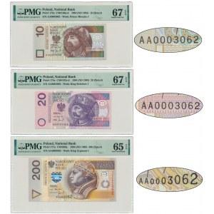 Zestaw 10, 20 i 200 złotych 1994 AA 0003062 - PMG 65 i 67 EPQ - takie same numery seryjne - RZADKOŚĆ