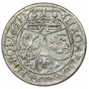 Jan II Kazimierz, Szóstak Lwów 1661 GBA - NIENOTOWANY, RZADKI