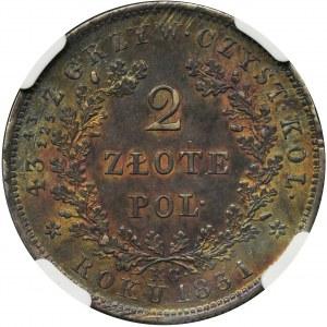 November Uprising, 2 zloty Warsaw 1831 KG - NGC AU58
