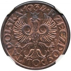 1 grosz 1934 - NGC MS64 RB