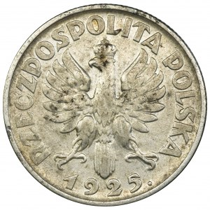 Kobieta i kłosy, 1 złoty Londyn 1925 - kropka po dacie