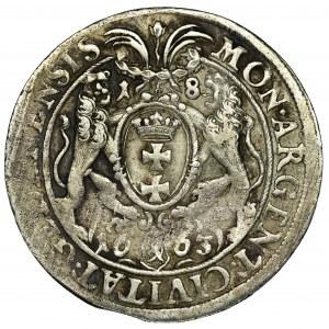 John II Casimir, 1/4 Thaler Danzig 1663 DL