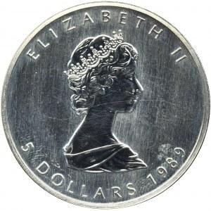 Canada, Elizabeth II, 5 Dollars 1989 - mapple leaf