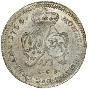 Księstwo Kurlandii, Ernest Jan Biron, Szóstak Mitawa 1764 - RZADKI, PIĘKNY