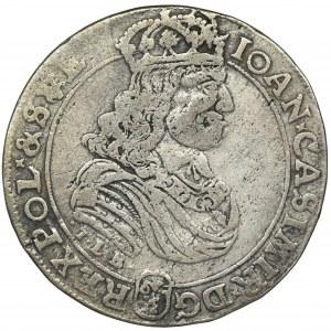 Jan II Kazimierz, Ort Bydgoszcz 1668 TLB - odmiana z herbem Ślepowron