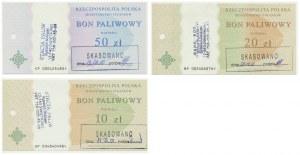 Zestaw Bonów Paliwowych 10-50 złotych 2002 (3 szt.)