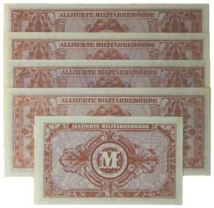 Germany, allied occupation money, set of 10-1.000 mark 1944 (5 pcs.)